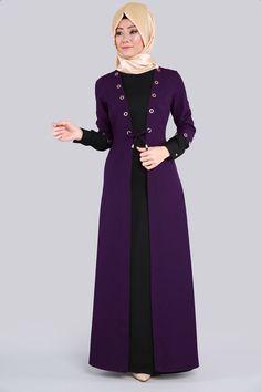 Hırka Görünümlü Tesettür Elbise MSW9289 Mor