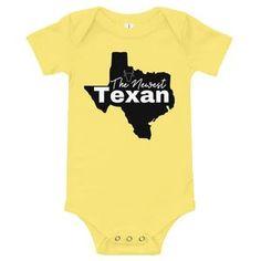 Newest Texan Baby Bodysuit Heather White, The Nines, Columbia Blue, Texans, Baby Bodysuit, Good News, Banana, One Piece, Yellow