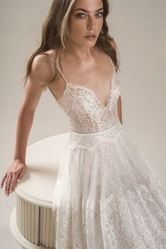 featuring - arava polak 2019 bridal sleeveless spaghetti strap deep sweetheart neckline full embellishment romantic bohemian soft a line wedding dress backless low scoop back sweep train zv -- Arava Polak 2019 Wedding Dresses ~ Wedding Dress For Short Women, Princess Wedding Dresses, Dream Wedding Dresses, Wedding Gowns, Short Bridal Dresses, Bohemian Wedding Dresses, Wedding Ceremony, Backless Wedding, Saree Wedding