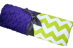 Possible colors for baby boy #2- Neon Green and White Chevron Baby Blanket with Purple by babyboos, $35.00