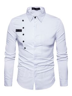2018 New Arrival Shirts For Men Single-Breasted Decoration Business Casual Shirtseosewe Cool Shirts For Men, Casual Shirts For Men, Men Casual, Long Sleeve Cotton Dress, Long Sleeve Shirt Dress, Slim Fit Dress Shirts, Fitted Dress Shirts, Mens Designer Shirts, African Shirts