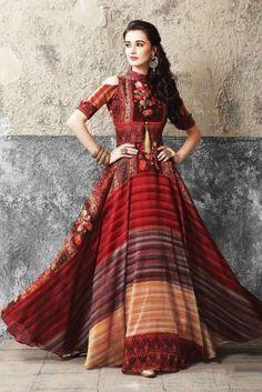 fa135b9cbe09e Fashion zonez Designer Maroon Gown