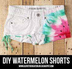 DIY Clothes DIY Refashion  DIY  Watermelon Tie Dye Shorts