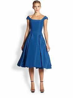 Oscar de la Renta - Silk Faille Bubble-Hem Dress - Saks.com
