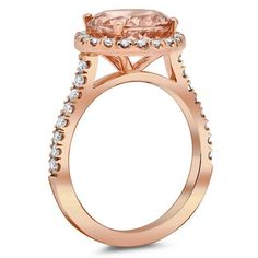 Halo Setting for Round Morganite Morganite Engagement, Halo Engagement Rings, Rose Gold Morganite Ring, Halo Setting, Pink Gemstones, Rose Gold Jewelry, White Gold, Fashion, Moda
