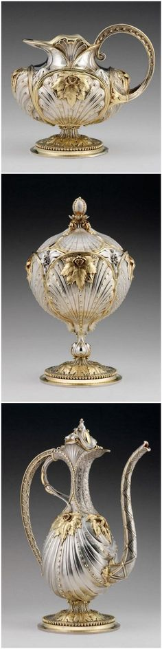 1 - Cream Jug.   2 - Sugar Bowl and Lid.  3 - Coffeepot ca. 1842-1848. Silver with gilding. Jean Valentin Morel (1794-1860), designer; Morel & Cie (1842-1848), manufacturer   The Nelson-Atkins Museum of Art