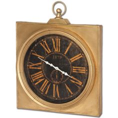 Showcasing a golden finish and weathered face, this striking iron wall clock adds sleek style to your entryway or living room.  Prod...