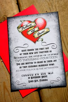 Items similar to Heart Tattoo Wedding Invitations with RSVP and envelopes - old school offbeat wedding tatt on Etsy Tea Length Bridesmaid Dresses, Wedding Bridesmaids, Wedding Dresses, Happy Wedding Day, Dream Wedding, Summer Wedding, Rockabilly Wedding, Wedding Tattoos, Gold Wedding Invitations