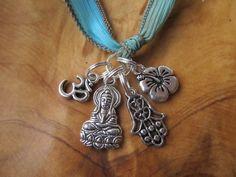Turquoise Silk Wrap Bracelet with Buddha Hamsa by DestinyAccessory, $24.00