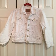 Distressed White American Eagle denim jacket Distressed white denim jacket. Cute accent for many outfits. Normal wear and tear. Good condition. American Eagle Outfitters Jackets & Coats Jean Jackets
