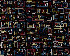NEW YORK CITY • CITY DNA Série • par LU XINJIAN • Peinture et Cartographie à partir de vues aériennes de Google Earth •