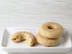 Prot: 9 g, Carbs: 9 g, Fat: 5 g, Cal: 119 -- A high-protein, gluten-free recipe for Maple Glazed Vanilla Protein Donuts that are packed with flavor! By Andréa's Protein Cakery.