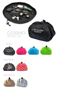 The Lay-n-Go is the BEST make-up  / jewelry bag you will ever have! It opens to a flat wide area so you can see all your makeup and or jewelry without rummaging and dropping anything, and when you're done, it scrunches closed! I do not go on vacation without mine! xo  Price is $29.95 for solid ...