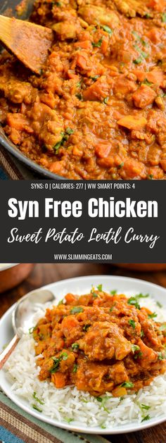 Lovely flavours come together in this Syn Free Chicken, Sweet Potato and Lentil … Lovely flavours come together in this Syn Free Chicken, Sweet Potato and Lentil Curry which can be cooked on the stove top or in an Instant Pot Lentils And Potato Recipe, Chicken Lentil Curry, Sweet Potato Lentil Curry, Lentil Recipes, Curry Recipes, Healthy Recipes, Drink Recipes, Healthy Food, Recipes