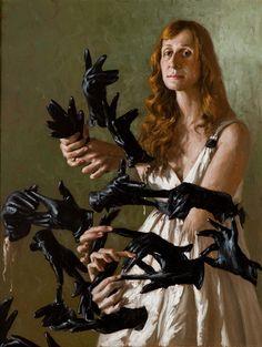 """Artwork by Italian contemporary painter Giovanni Gasparro"" Man Ray, Layers Of Fear, Modern Art, Contemporary Art, Portraits, Portrait Paintings, Goth Art, Italian Art, Heart Art"