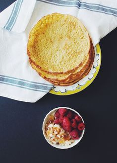 Gluten Free Oat Crepes with Raspberries and Toasted Coconut