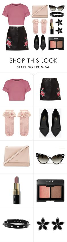 """Pink and black"" by lottie2004 ❤ liked on Polyvore featuring Monsoon, Yves Saint Laurent, Kate Spade, Bobbi Brown Cosmetics, Charlotte Russe and pinkandblack"