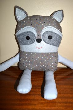 Dotted Raccoon Stuffed Animal $25 https://www.etsy.com/shop/DesignsByAlila