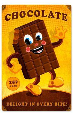 Retro Chocolate Man Metal Sign 12 x 18 Inches