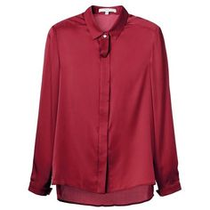 Women silk shirt Gabrielle - Sunday Life - Luxury fashion from Paris ($175) ❤ liked on Polyvore featuring tops, red top, red silk shirt, silk shirt, shirt tops and red shirt