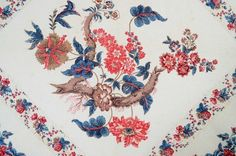 """detail - Chintz Center Medallion Broderie Perse Quilt; Ca. 1830, very finely stipple quilted, dates to no later than 1830, 100"""" square, Stella Rubin Antiques"""