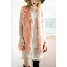 Yoins Peach Pink Fashion Sleeveless Artificial Fur Coat ($29) ❤ liked on Polyvore featuring outerwear, coats, black, sleeveless coat, faux coat, pink fur coat, faux fur coats and pink coat