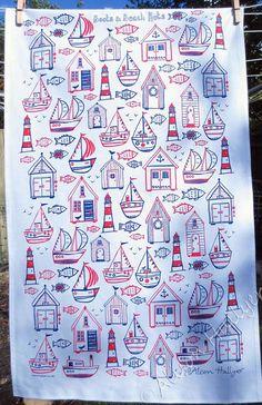 Boats & Beach Huts screen-printed tea towel white by AlisonHullyer