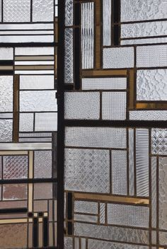 Detail of a 1930 screen made of glass, iron, lead and Bakelite by Louis Barillet and Jacques Le Chavallier (NYT) #partition #screen