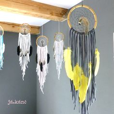 Dreamcather yellow feathers tribal decor nursery decor bedroom decor wall hanging hippie boho bohemian dream catcher by jakanestudio on Etsy