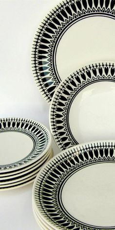 Black & White Vintage Dinnerware Set - Night Song by Royal China - Mid Century Drama