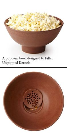 #Popcorn bown designed to filter unpopped kernels