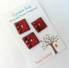 Brown+Square+Handmade+Buttons++by+CyndraArts+on+Etsy,+£4.00