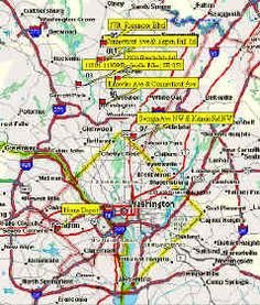 GPS Map of Washington DC Beltway Sniper shooting locations [2002]