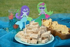 Cute Mermaid Superhero Kids' Birthday Party paper character decorations - Mommy Scene