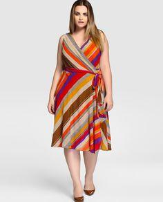 Vestido de mujer talla grande Lauren Woman con rayas