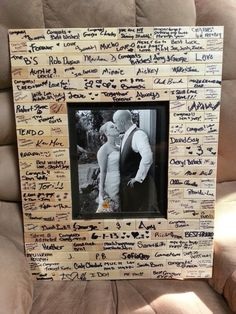 Jenga wedding peices made into a picture frame