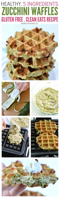 Gluten Free Zucchini Parmesan Waffles with Buckwheat Flour. Clean eating waffles with 5 ingredients.
