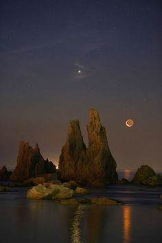 """Off the coast of Japan: """"Venus,The Crescent Moon and Rocks"""". Photography by Masahisa Uemura on Flickr"""