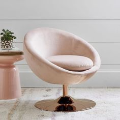Make a statement with the space-age-inspired Astro Chair. Go retro glam with rose gold and velvet or classic mod in chrome and tweed. Whichever you choose, this swiveling accent chair makes a stylish addition to your space. Small Living Room Chairs, Black Dining Room Chairs, Wayfair Living Room Chairs, Upholstered Swivel Chairs, Eames Chairs, Arm Chairs, Ikea Chairs, Pink Chairs, Pink Sofa