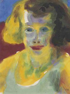Emil Nolde, Frauenbildnis im Gegenlicht (gelb und gruën)