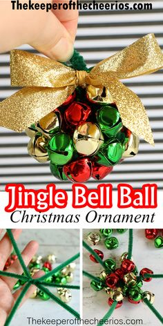 Easy Christmas Ornaments, Christmas Crafts For Gifts, Homemade Christmas Gifts, Kids Christmas, Ball Ornaments, Diy Christmas Projects, Diy Christmas Decorations, Christmas Bells, How To Make Ornaments