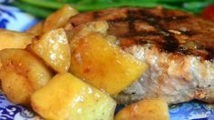 Ingredients 1 cup light brown sugar 1 cup soy sauce 1 cup orange juice 1/2 cup spicy brown mustard 1/3 cup honey 2 tablespoons Worcestershire sauce 2 tablespoons ground black pepper 1 tablespoon ground cumin   8 pork chops, 1/2 to 1 inch thick 1 lime, juiced 1/2 cup butter 1 tablespoon light brown sugar, or to taste 2 tablespoons ground cinnamon 4 large green apples - peeled, cored, and cut into eighths 4 Bartlett pears - peeled, cored, and cut into eighths