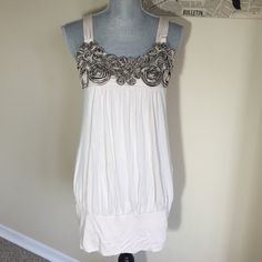 Forever 21 Dress Forever 21 beige dress,  Great condition, hand washable,95% Rayon, 5% spandex Forever 21 Dresses Mini