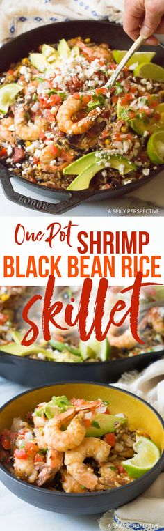 One-Pot Shrimp Black Bean Rice Skillet Recipe - This easy and zesty rice dish is a marvelous main course you can make in minutes!  via @spicyperspectiv