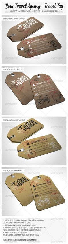 Travel Tag Business Card Template #GraphicRiver TRAVEL TAG BUSINESS CARDS FEATURES: 2 Vector EPS files (CS Adobe version required) 2 Layouts (Horizontal + Vertical) 2 Color variations (Dark + Light) 2 Paper images Well layered, fully editable and resizable CMYK Print Ready 300dpi Free Fonts used: Lobster Two + Euphemia Ucas Enjoy more works on freshinkstain Cheers! (Mock-up not included) Created: 21June13 GraphicsFilesIncluded: JPGImage #VectorEPS Layered: Yes MinimumAdobeCSVersion: CS