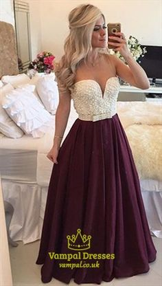 Wine Red Strapless Beaded Bodice Plunge V Neck Chiffon Prom Dress