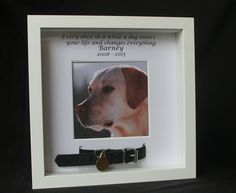 This unique box frame remembrance keepsake consists of a mount cover personalised with the dogs name and the date on the top with the endearing phrase Every once in a while a dog enters your life and changes everything. This lovely keepsake also has a frame to hold a photo of the dog, with a special unique section for the dogs collar. The slots for the dogs collar are 1 inch long. The frame is deep (approx 1.5 inch) if the collar is large it may need to be cut to refit back onto frame. Th...