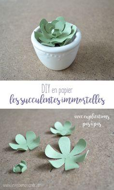 Paper Succulents, Paper Plants, Paper Flowers Diy, Doll Crafts, Fun Crafts, Diy And Crafts, Diy Fleur, Cactus Craft, Papier Diy