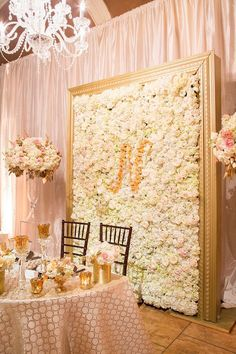 Cream and Blush Chanel Inspired Wedding Sweetheart Table | Tyler Vu Photography | Luxury Linens for any Wedding Budget!
