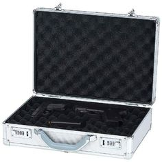 "Classic SafariTM Aluminum Pistol Case - http://www.airrifleforsale.com/air-pistol-cases/classic-safaritm-aluminum-pistol-case-2/ - Features aluminum exterior, 2 combination locks and foam inserts to protect guns from damage. Measures 16-1/8"" x 4-3/4"" x 11"". Not child proof. White box. - #Aluminum, #Case, #Classic, #Pistol, #SafariTM"